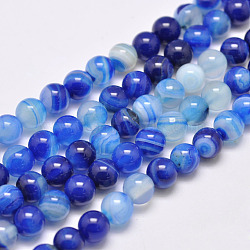 Natural Striped Agate/Banded Agate Bead Strands, Dyed & Heated, Round, Grade A, Blue, 8mm, Hole: 1mm; about 48pcs/strand, 15.1