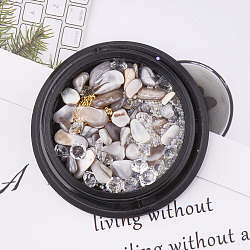 Éclats de pierres précieuses et résine et strass et perles mirco non percées, accessoires nail art de décoration, chardon, 3~10x3~5mm(MRMJ-S015-004F)