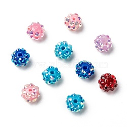 Chunky Resin Rhinestone Beads, Resin Round Beads, Mixed Color, 10mm, Hole: 1.5mm(RESI-M019-10mm-M)