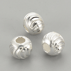 Perles 925 en argent sterling, rond, argenterie, 3x2.5mm, Trou: 1.5mm(STER-S002-16-3mm)
