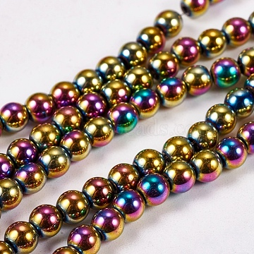 Electroplate Non-magnetic Synthetic Hematite Beads Strands, Round, Grade AAAA, Multi-color Plated, 4mm, Hole: 1mm; about 100pcs/strand, 16inches(X-G-J169A-4mm-05)