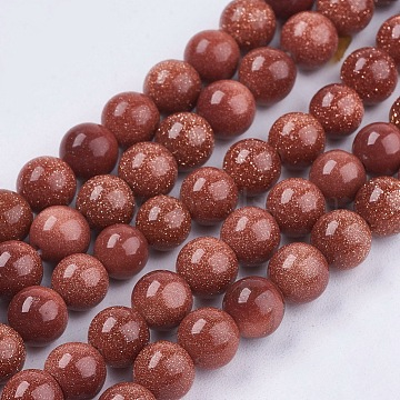 Synthetic Goldstone Bead Strands, Round, 6mm, Hole: 1mm, about 63pcs/strand, 14.9 inches(X-G-R193-04-6mm)