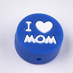 Thème de la fête des mères, Billes de silicone environnementalistes de qualité alimentaire, perles à mâcher pour les jouets de dentition, Diy soins infirmiers colliers faisant, plat rond avec mot j'aime maman, bleu, 20x9.5mm, Trou: 2mm(SIL-S003-02H)
