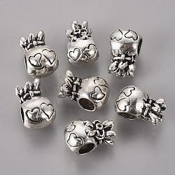 Supports de perles européennes avec strass en alliage de style tibétain, perle avec trou grande, sans plomb et sans nickel, sac chanceux, argent antique, s'adapter pour 1 mm strass; 15x10x9 mm, Trou: 5mm(X-TIBEB-7812-AS-NR)