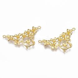 Liens en laiton piquets, pour la moitié de perles percées, sans nickel, fleur, non plaqué, 24x40.5x5mm, trou: 1.8~2 mm; broches: 0.8 mm(KK-T040-012-NF)
