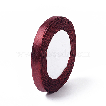 3/8inch(10mm) Darkred Satin Ribbon for Hairbow DIY Party Decoration, 25yards/roll(22.86m/roll)(X-RC10mmY048)