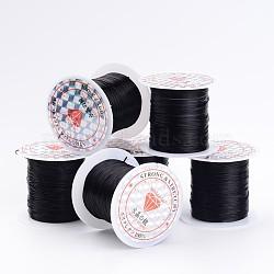 Chaîne de cristal élastique plat, fil de perles élastique, pour la fabrication de bracelets élastiques, noir, 0.8 mm; 10 m / rouleau, 25 rouleaux / sac(EW-S001-22)