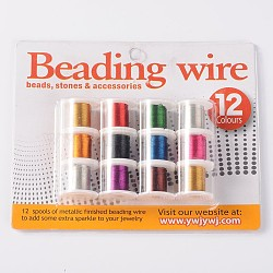 Copper Jewelry Wire, Mixed Color, 26 Gauge, 0.4mm; 3yards/roll, 12rolls/box(CWIR-R002-0.4mm)