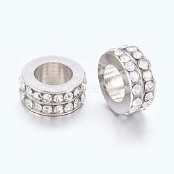 Platine clair rondelle plaquée laiton grand trou strass perles européennes, environ 11 mm de diamètre, épaisseur de 5mm, Trou: 6mm(X-EC2001-3)