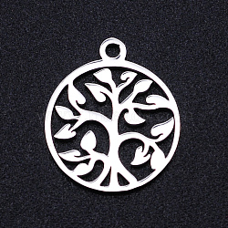 201 Stainless Steel Pendants, Filigree Joiners Findings, Laser Cut, Flat Round with The Tree of Life, Stainless Steel Color, 17x14.5x1mm, Hole: 1.5mm