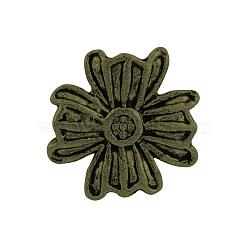 Boutons de fleurs en alliage de style tibétain, 1-trou, sans plomb et sans nickel, bronze antique, 14x14x5.5mm, Trou: 2mm(X-TIBE-2736-AB-NR)