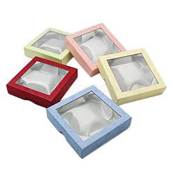 Cardboard Bracelet Boxes, for Bracelet & Bangle, Square, Mixed Color, 9x9x2cm(X-CBOX-D004-1)