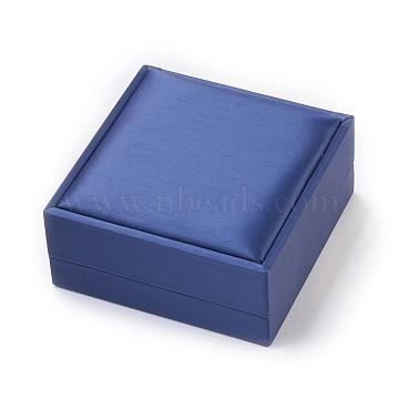 Imitation Silk Covered Wooden Jewelry Bangle Boxes, Square, Dark Blue, 9x9x4.2cm(OBOX-F004-08)