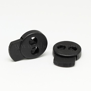 Iron Spring Environmental Plastic Cord Locks, Dyed, 1-Hole, Black, 28x21x6mm, Hole: 6mm(FIND-E004-77A)