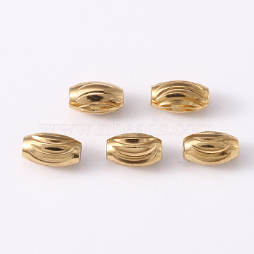 304 Stainless Steel Corrugated Beads, Oval, Golden & Stainless Steel Color, 5x3mm, Hole: 1.2mm(STAS-S103-16A-G)