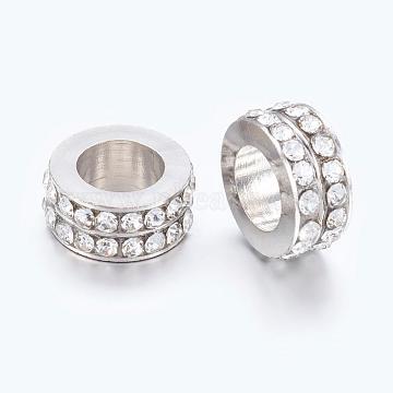 Large Hole Beads, European Brass Rhinestone Beads, Platinum, Rondelle, Clear, 11x5mm, Hole: 6mm(X-EC2001-3)