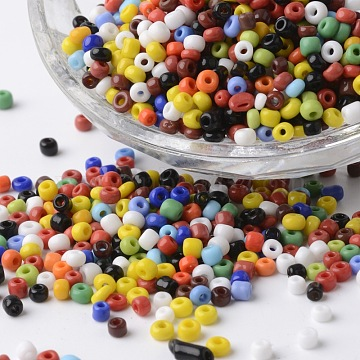8/0 Opaque Colours Round Glass Seed Beads, Mixed Color, 2.5~3.5x2~2.5mm, Hole: 0.8~1mm, about 1300pcs/bag(SEED-P002-12)