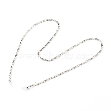 304 Stainless Steel Figaro Chains Eyeglasses Chains, Neck Strap for Eyeglasses, with Alloy Lobster Claw Clasps and Rubber Loop Ends, Stainless Steel Color, 30.12 inch(76.5cm)(AJEW-EH00348-01)