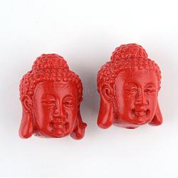 Буддийский ювелирных изделий киноварь бусы, Будда, огнеупорный кирпич, 18x14.5x13.5 мм, отверстие : 2 мм(CARL-Q004-43)