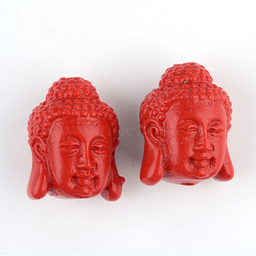 Buddhist Jewelry Cinnabar Beads, Buddha, FireBrick, 18x14.5x13.5mm, Hole: 2mm(CARL-Q004-43)