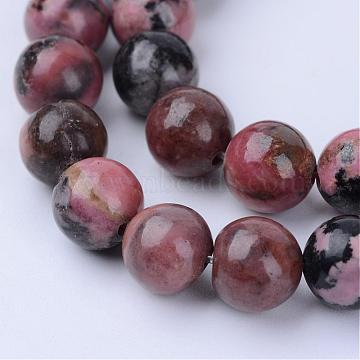 Natural Rhodonite Beads Strands, Round, 10~10.5mm, Hole: 1.2mm; about 36pcs/strand, 15.5inches(G-Q462-10mm-25)