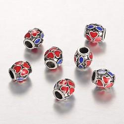 des perles d'émail en alliage, canon avec motif de coeur, rouge, argent antique, 8x7 mm, trou: 3.5 mm(ENAM-E294-01AS)