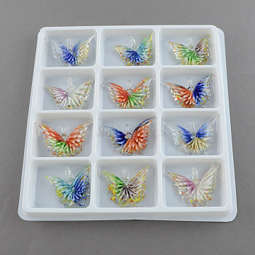 Mixed Color Butterfly Lampwork Pendants