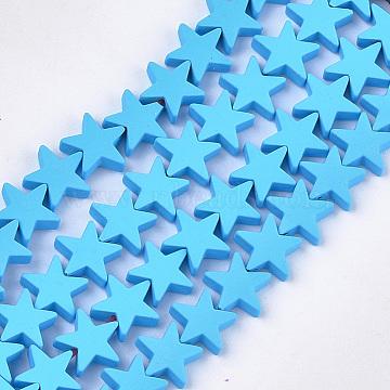 brins de perles d'hématite synthétiques non magnétiques peints par pulvérisation, étoiles, deepskyblue, 8x8x2.5 mm, trou: 0.8 mm; environ 64 perle / brin, 15.5(X-G-T116-21-03)