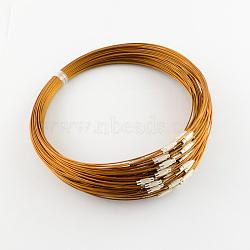 """Création de bijoux de fil de collier en acier inoxydable, avec du laiton fermoir à vis, chocolat, 17.5""""(X-TWIR-R003-07)"""