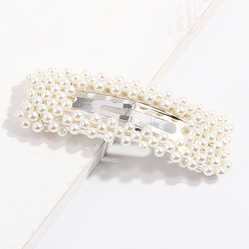 Alloy Snap Hair Clips, with Imitation Pearl, Rectangle, White, 78x28mm(PHAR-L003-07)