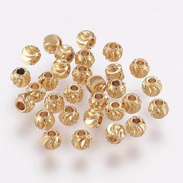 Brass Beads, Long-Lasting Plated, Round, Real 18K Gold Plated, 4x3mm, Hole: 1mm(KK-G312-01G-4mm-G)