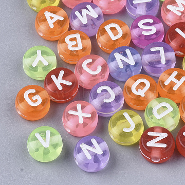 Transparent Acrylic Beads, Flat Round with Random Initial Letter, Mixed Color, 7x4mm, Hole: 1.5mm; about 555pcs/50g(X-MACR-S299-056)