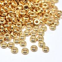 laiton rondes plat perles d'espacement, sans plomb et sans cadmium et sans nickel, or, 4x1.5 mm, trou: 1.5 mm