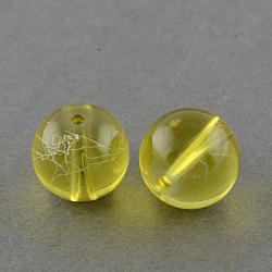 """Chapelets de perles en verre transparent drawbench, peint à la bombe, rond, verge d'or, 10 mm; trou: 1.3~1.6 mm, 31.4""""(GLAD-Q012-10mm-06)"""