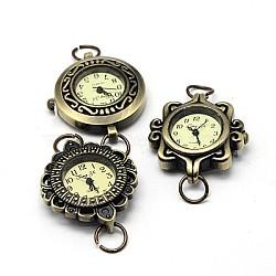 Composants de montre tête cadran en alliage, mixedstyle, bronze antique, 27~32x28~34x7~8mm, Trou: 6~7mm(WACH-F001-M02)