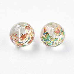Fleur photo perles de verre imprimé, rond, clair, 8x7mm, Trou: 1mm(GLAA-E399-8mm-B01)