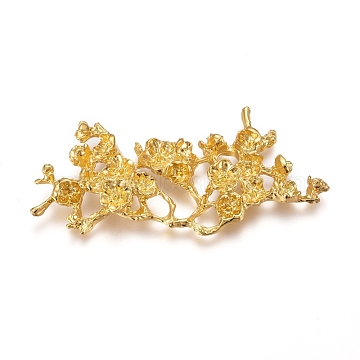 Electroplated Alloy Rhinestone Settings, Branch with Flower, Real 18K Gold Plated, Fit For 2~5mm Rhinestone; 27x57x5mm(X-PALLOY-I176-15G)