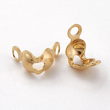 Long-Lasting Plated Brass Bead Tips, Calotte Ends, Clamshell Knot Cover, Real 18K Gold Plated, Nickel Free, 8x4x4mm, Hole: 1mm, Inner Diameter: 3mm(X-KK-K193-118G-NF)