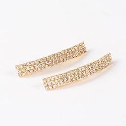 Rectangle Golden Tone Brass Rhinestone Tube Beads, Crystal, 42.5x6.5x5mm, Hole: 3mm(RB-M070-01)