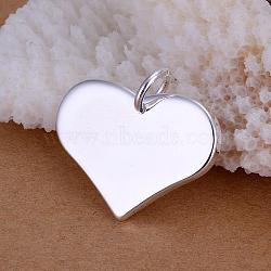 Pendentifs coeur en laiton, argenterie, 22x25mm(KK-BB11573)