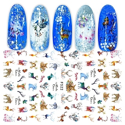 Nail Art Stickers, Self-adhesive, For Nail Tips Decorations, Christmas Reindeer/Stag Pattern, Colorful, 12.3x8cm(MRMJ-Q080-F522)