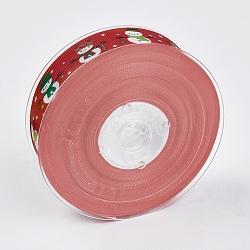 """Rubans gros grain imprimés polyester, le thème de Noël, bonhomme de neige, rouge, 1"""" (25 mm); environ 100yards / rouleau (91.44m / rouleau)(ORIB-E002-D01)"""