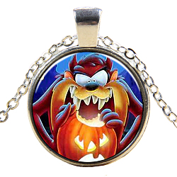 Halloween Theme Glass Pendant Necklaces, with Alloy Findings, Flat Round with Pumpkin, Silver Color Plated, 17.7