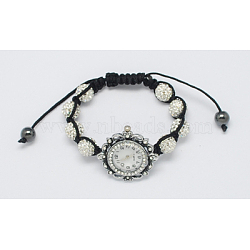 Fashion Watch Bracelets, with Rhinestone Beads, Hematite Beads and Alloy Watch Head, White, 1-3/4inches(45mm)(X-BJEW-S602-1)