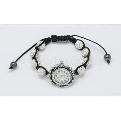 """Bracelets de montre à la mode, avec des perles de strass, perles d'hématite et tête de montre d'alliage, blanc, 1-3/4"""" (45 mm)(X-BJEW-S602-1)"""