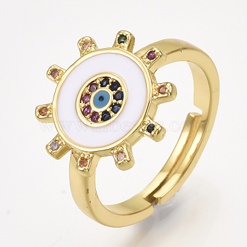Adjustable Brass Micro Pave Cubic Zirconia Finger Rings, with Enamel, Sun with Eye, White, Size 7, 17mm(RJEW-S044-063B)