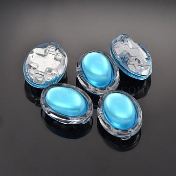 Sew on Taiwan Acrylic, Multi-strand Links, Garment Accessories, Oval, Deep Sky Blue, 13x11x7mm, Hole: 1mm(X-SA54-8x10-AC-25)