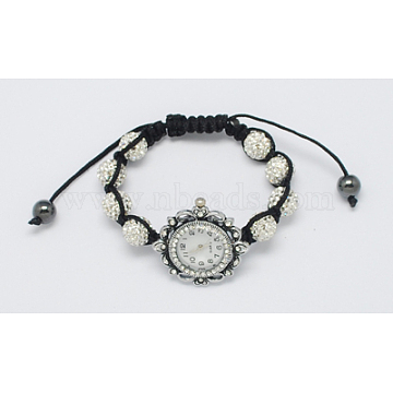 Fashion Watch Bracelets, with Rhinestone Beads, Hematite Beads and Alloy Watch Head, White, 1-3/4 inches(45mm)(X-BJEW-S602-1)
