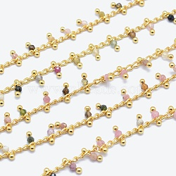 Natural Tourmaline Handmade Beaded Chains, Soldered, Lead Free & Cadmium Free, with Brass Findings, Real 18K Gold Plated, Long-Lasting Plated, Faceted Round, 6~7x2~3mm