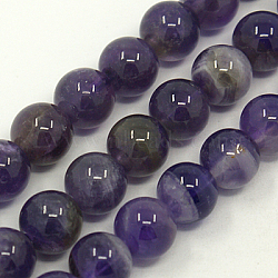 Natural Gemstone Beads Strands, Amethyst, AB Grade, Round, Purple, 10mm, Hole: 1mm; about 40pcs/strand, 15.5